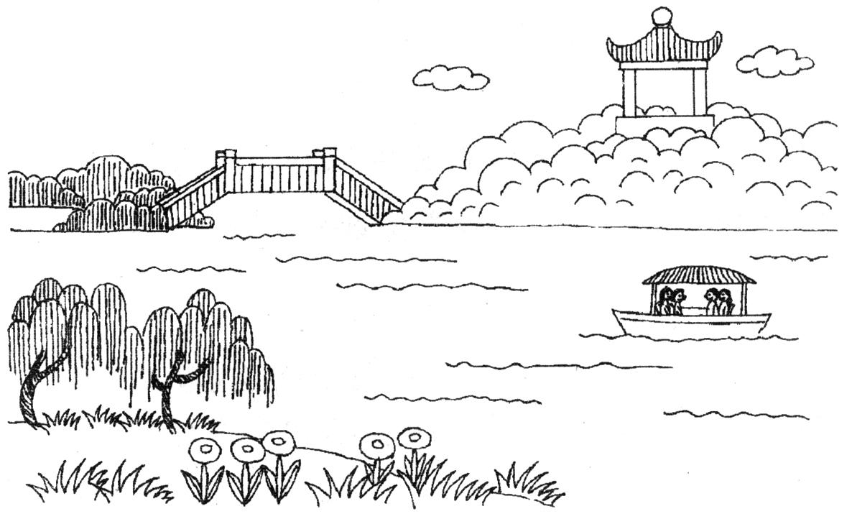 桂林景色简笔画