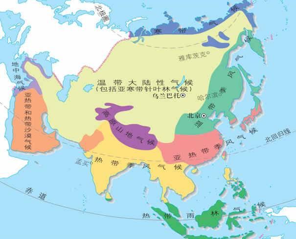 亚洲候类型分布�_而海带海洋性气候的分布规律是:南北纬30度至40度的大陆西岸,而亚洲