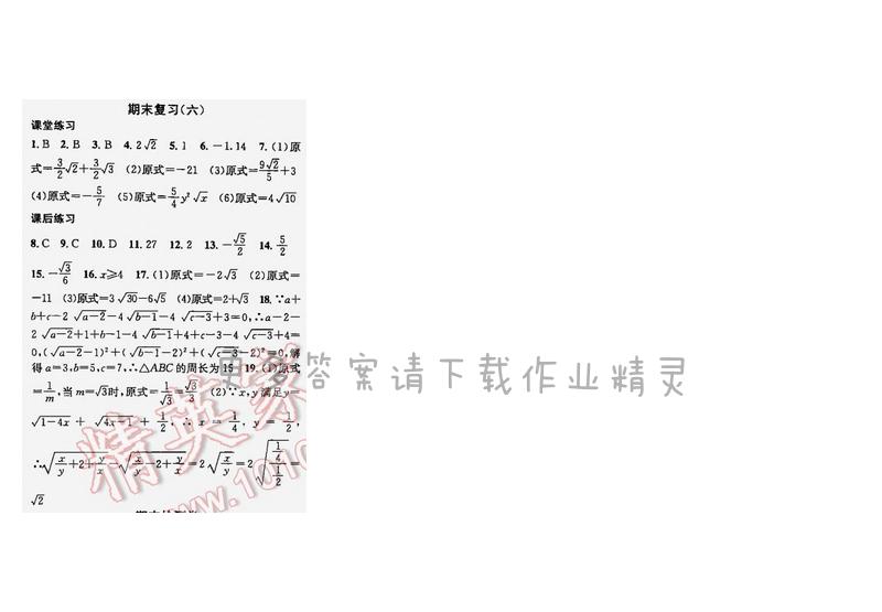 课时学案作业本八年级数学下册江苏版期末复习六