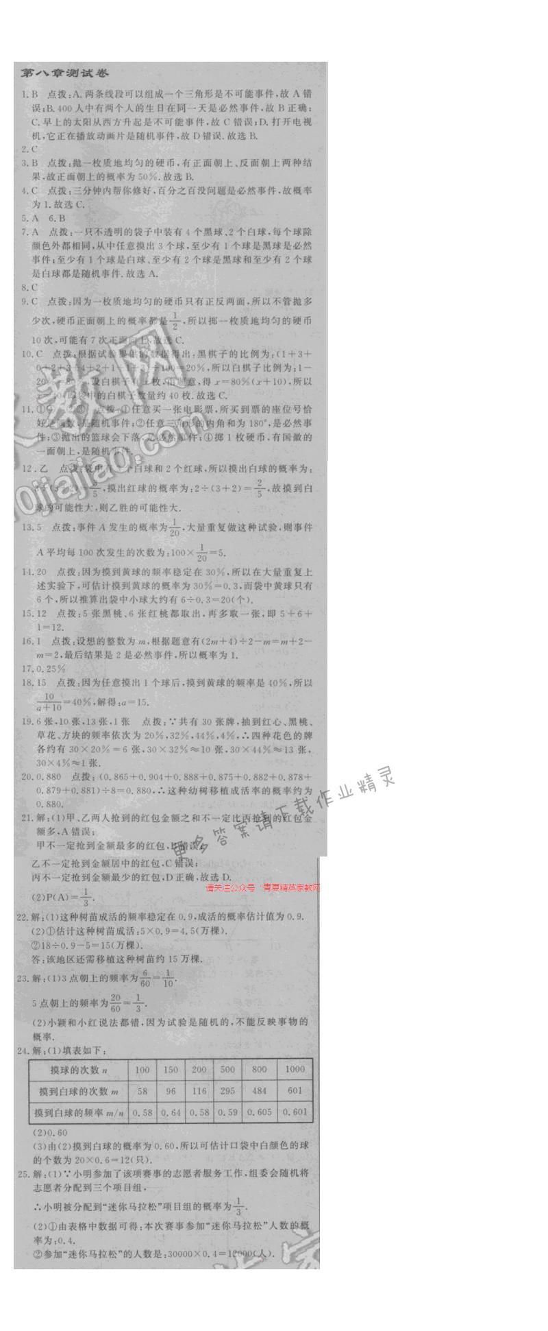 2016年启东中学作业本八年级数学下册江苏版 第八章测试卷