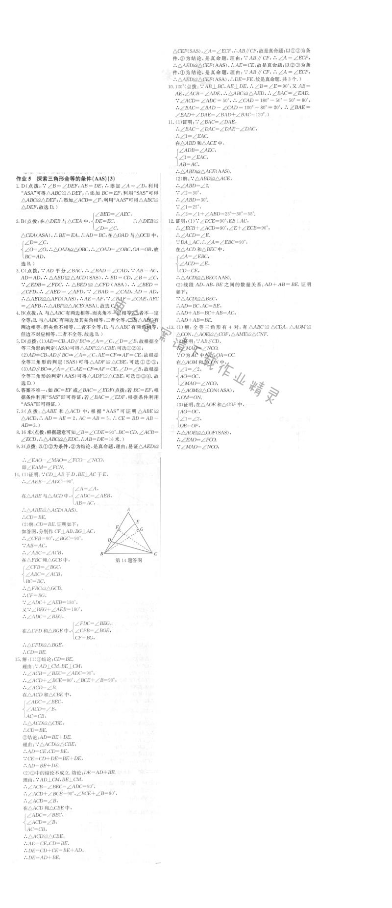 启东中学作业本八年级数学上册江苏版 作业5