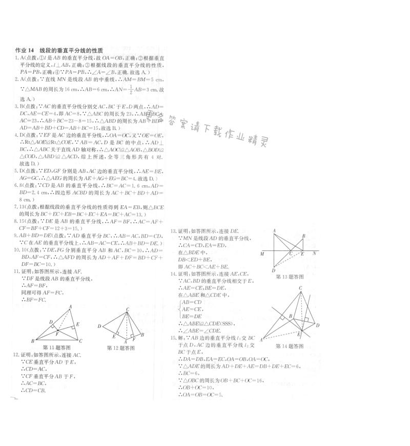 启东中学作业本八年级数学上册江苏版 作业14