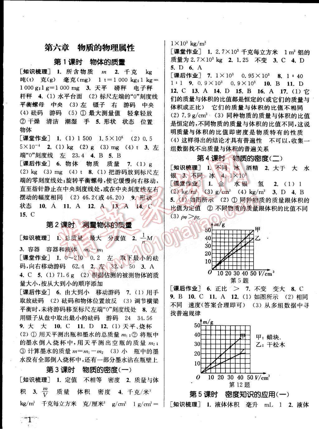 2015年通城学典课时作业本八年级物理下册苏科版第1页